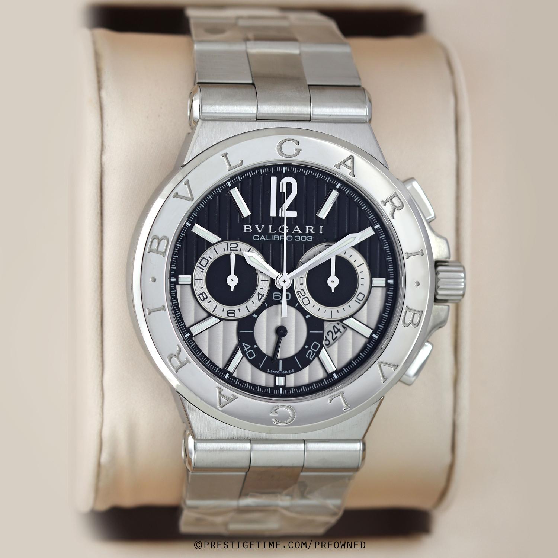ee26fef3430 Pre-owned Bulgari Diagono Chronograph Calibre 303 101880 dg42bssdch