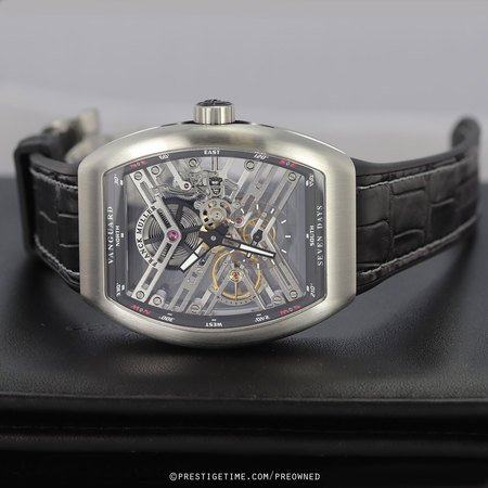 Pre-owned Franck Muller Vanguard Skeleton 7 Days V 45 S6 SQT NR BR